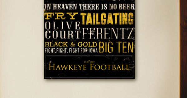 Iowa Hawkeyes football typography graphic art on gallery wrap canvas 12 x