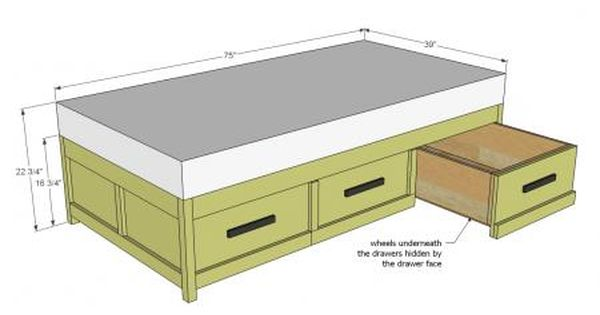 Boat Bed With Trundle And Toy Box Storage: Build A Daybed With Storage Trundle Drawers