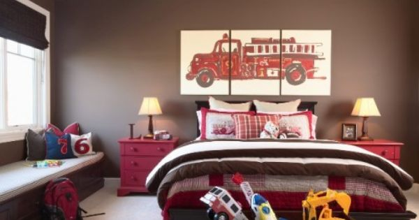 one of the boys rooms? Fun brown & red boy;s bedroom with