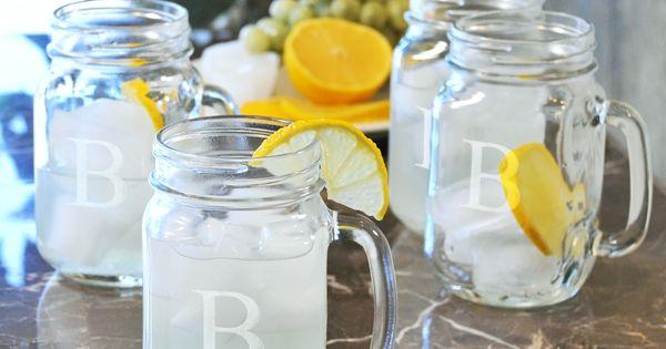 Personalized Mason Jar Glass Mugs | Chic Personalized Old Fashion Drinking Glasses