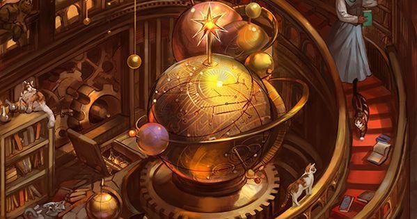 • Illustration art fantasy tentacles Library steampunk Cyborg steampunk art steam punk