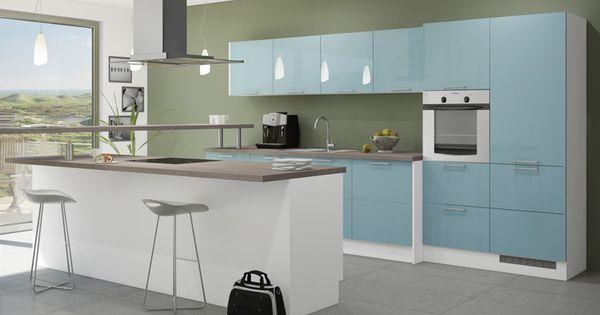 Küche in Hellblau Kücheninsel kuechen