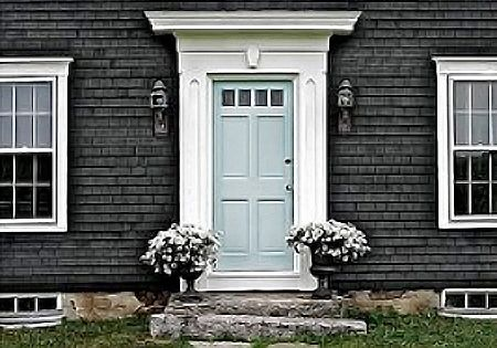 House colors - love the blue door here with the white trim