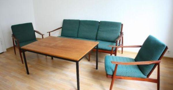50er Danish Design 3er Sofa 2 Sessel Knoll Antimott 3er Sofa Danisches Design Sessel