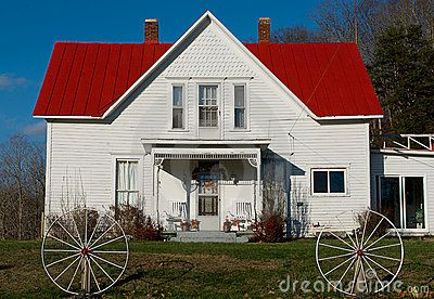 Rural White House With A Red Roof Red Roof House Red Roof Roof Colors