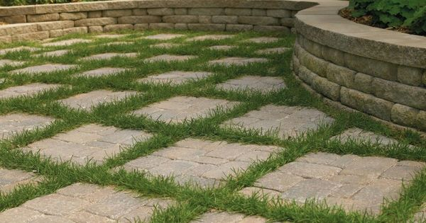 maybe with astroturf? looks difficult to mow. paver patio with ... - Patio Ground Cover Ideas