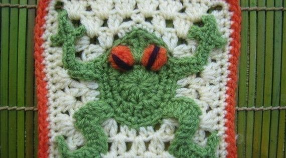 Red eyed frog square - rugalugs crochet pattern Red eyes ...