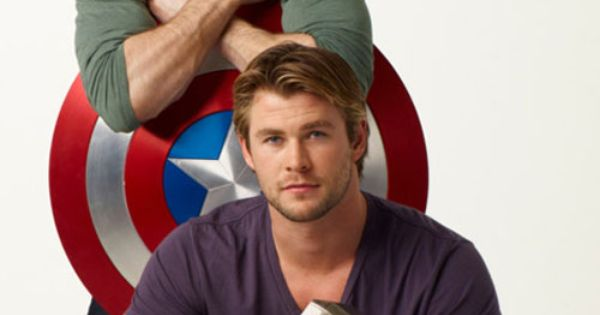 Chris Evans as Captain America and Chris Hemsworth as Thor in The