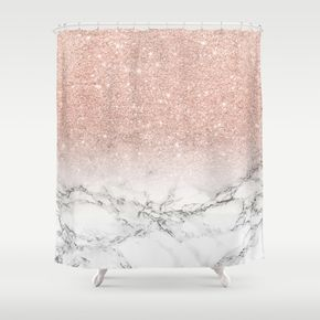 Modern Faux Rose Pink Glitter Ombre White Marble Shower Curtain By Girly Trend 68 00 Pink Shower Curtains Marble Showers White Marble Shower