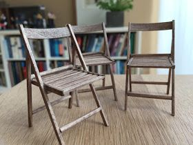 1 12 Scale Modern Model Houses Tutorial Wooden Folding Chairs Good Blog Wooden Folding Chairs Miniature Chair Folding Chair