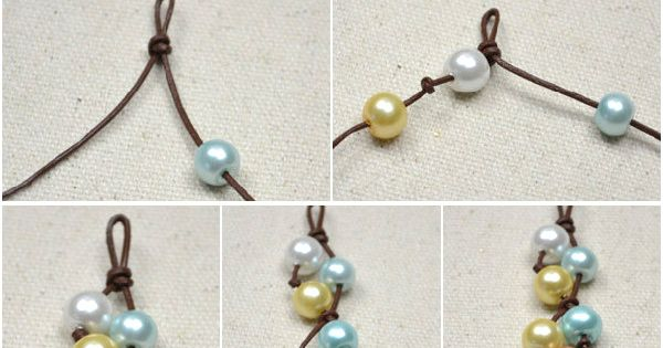 How to make four-colored floating pearl necklace with ...