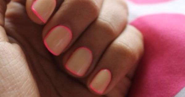 neon pink trim, fun summer nails
