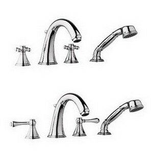 Grohe Geneva Double Handle Roman Tub Faucet With Hand Shower