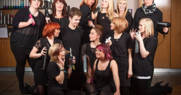 Hair salon group shot with a difference salon for Aberdeen college beauty salon