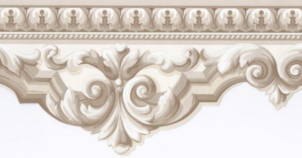 Beige crown molding wallpaper border victorian vintage wallpaper walls ceilings - Crown molding wallpaper ...