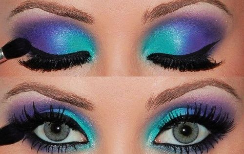 Aqua and purple 80s-style eye makeup with lots of black ...