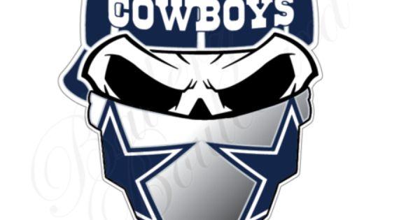 Dallas Cowboys Skull With Bandana Nfl Football Sticker