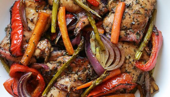 Balsamic Chicken with Roasted Vegetables | Balsamic Chicken, Roasted ...