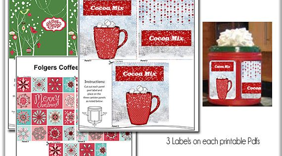 Printable Christmas Labels Recycle Folgers Coffee Cans
