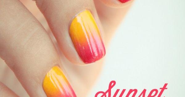 Gradient sunset nail art