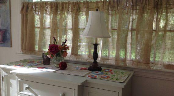 Custom fringed or ruffled burlap curtain farmhouse kitchen valance window treatment fringed - French country kitchen window treatments ...