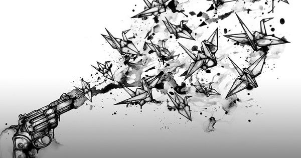 A gun shoots origami birds into the air in this powerful illustration