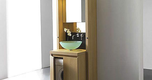 Un meuble bain astucieux pour cacher le lave linge - Lave linge dans salle de bain ...