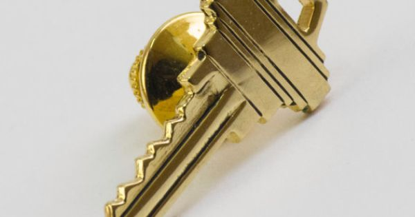 Vintage Tie Pin Key Tie Tack Gold Tone Metal Lock by CuffsandClips, $12.80