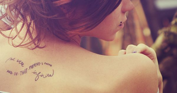 infinite words tattoo-- Love the idea of words in the infinity sign.