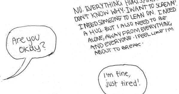 I'm fine Depression: The inability to communicate how you actually feel. |