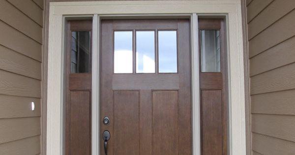 Exterior Doors Fir Grain Fiberglass Entry Door With Double Sidelites And An