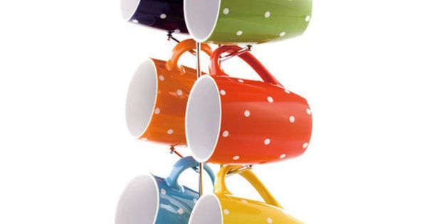 Mug Stand with Polka Dot Print Mugs coffee mugs polkadots www.bitememore.com ---