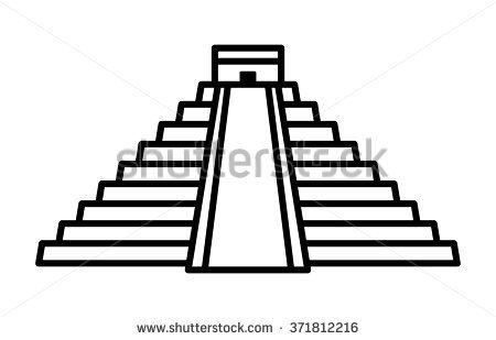El Castillo Pyramid In Chichen Itza Line Art Icon For Apps And