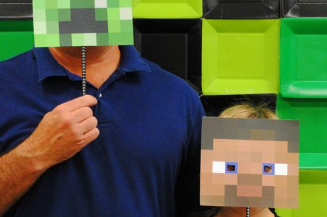 Photo booth prop for kids Minecraft birthday party. Diy print image from