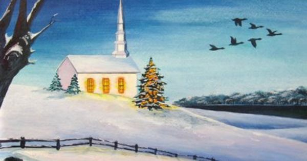 Original Watercolor painting Winter town landscape with cathedral Interior Picture Christmas Gift Sale
