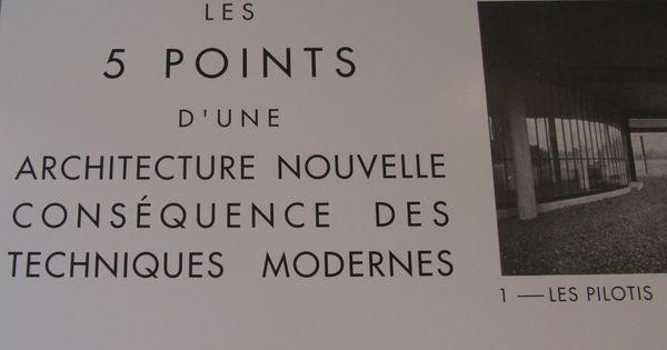 les cinq points de l 39 architecture moderne publi s en 1927 par le corbusier et pierre jeanneret. Black Bedroom Furniture Sets. Home Design Ideas