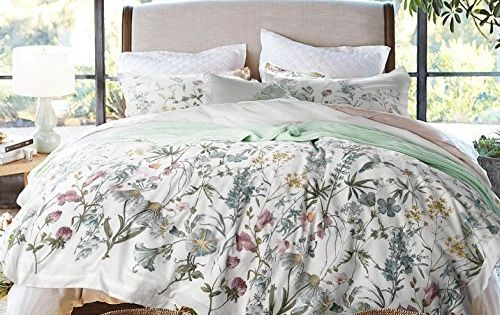 Envogue French Country Provincial Wildflower Print Washed Cotton Percale Bedding Duvet Quilt Cover Set Modern Rustic Soft Vintage Floral Nature Color Palette