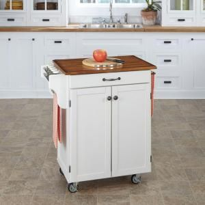 Homestyles Cuisine Cart White Kitchen Cart With Oak Wood Top 9001 0026g The Home Depot White Kitchen Cart Kitchen Cart Kitchen Tops Granite