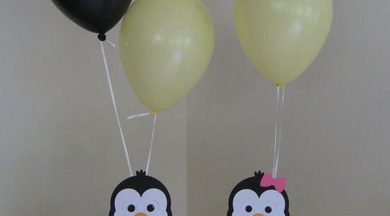 Penguin birthday party centerpiece balloon holders boy