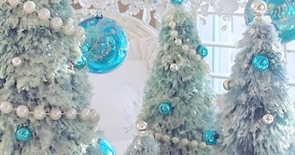 Snow Covered Aqua Blue Bottle Brush Christmas Tree Pearl