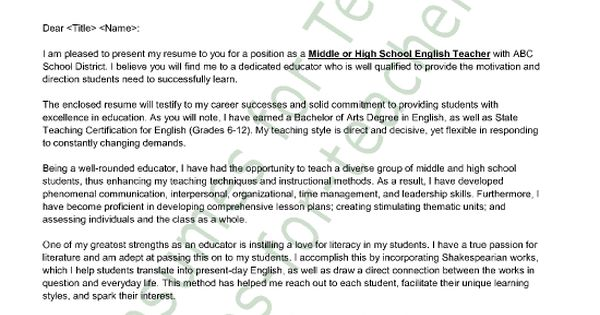 english teacher cover letter sample principal resume