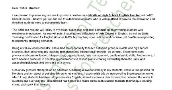 English Teacher Cover Letter Sample
