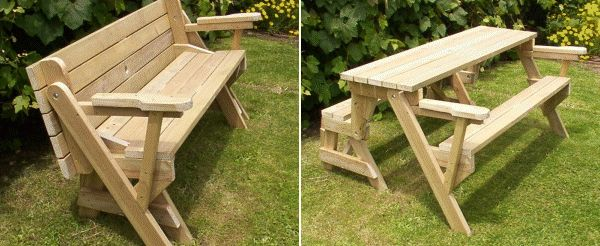 Un banc qui se transforme en table de picnic jardin for Meuble qui se transforme
