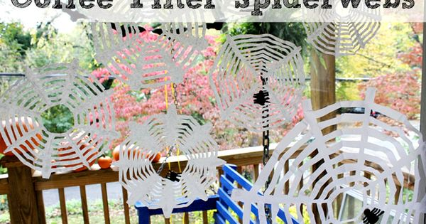 Coffee Filter spider webs, kids Halloween craft