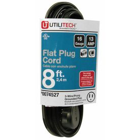 Utilitech 8 Ft 16 3 13 Amp Flat Plug Extension Cord Flat Plug Extension Cord Extension Cord Plugs
