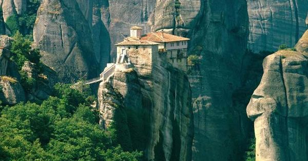 """Meteora, Greece. Literally means """"Hanging in the air. """" One of the"""