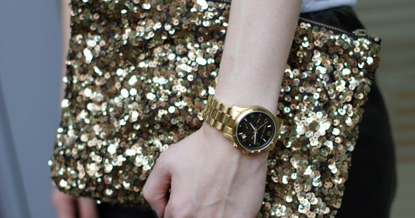 Girly sparkles, manly watch.