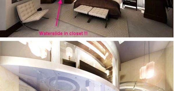 bedroom cupboard with hidden waterslide to indoor swimming pool this