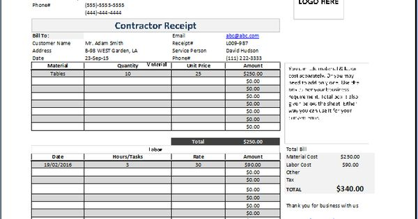 Contractor Receipt atreceiptstemplatescontractor – Contractor Receipt