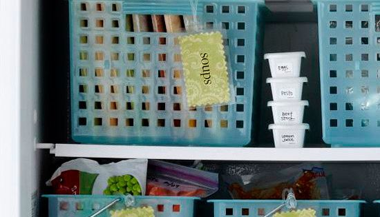 Fridge freezer organized. Love the baskets, flat packets of soup etc.